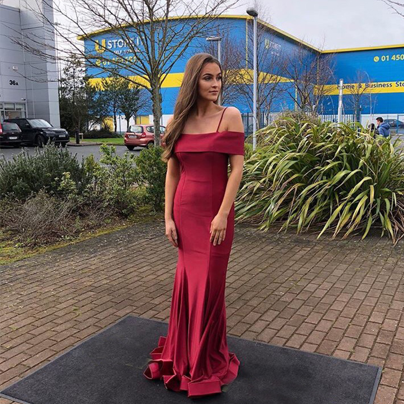 Off Shoulder Burgundy   Prom     Dresses   Spaghetti Straps Elastic Satin Formal Party Gowns Simple Mermaid Style Sweep Train   Prom   Gown