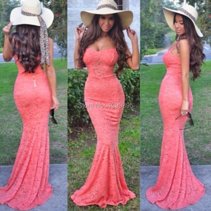 Vestido de encaje rosa coral – Vestidos de noche populares foto del ...