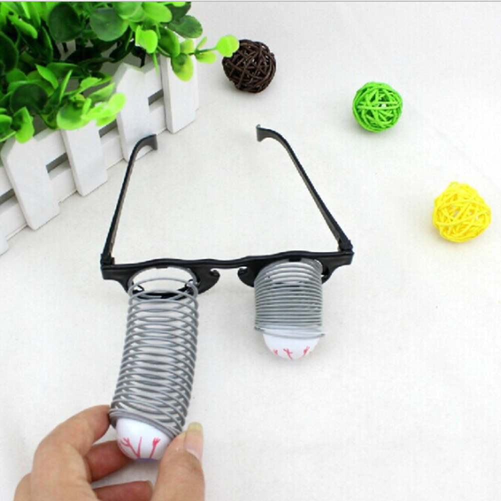 Horror Halloween Costume Gift Funny Game Drooping Spring Eye Ball Glasses Gag Toy for Making Jokes with Friends image