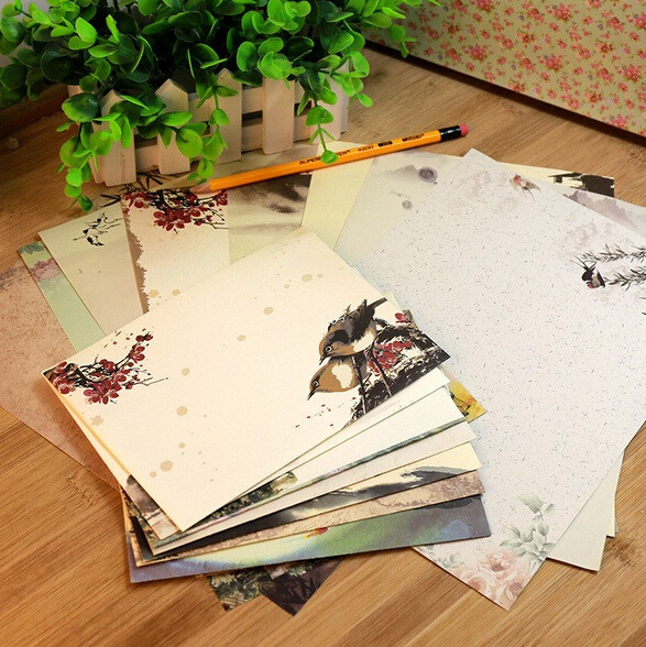 10pcs/pack  125*175mm NEW Vintage Ink Painting Chinese Style DIY Multifunction Kraft Envelope Set Nice Gift