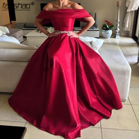 Arabic Prom Dress Boat Neck Short Sleeve With Beading Belts Red Evening Dresses