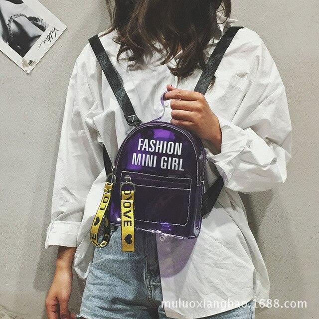 17e362c1b436 2018 Girl s White Purple Street Trend Shoulder Bag Transparent Jelly PU Backpack  Women Mini Creative Fashion Knapsack Sac S590