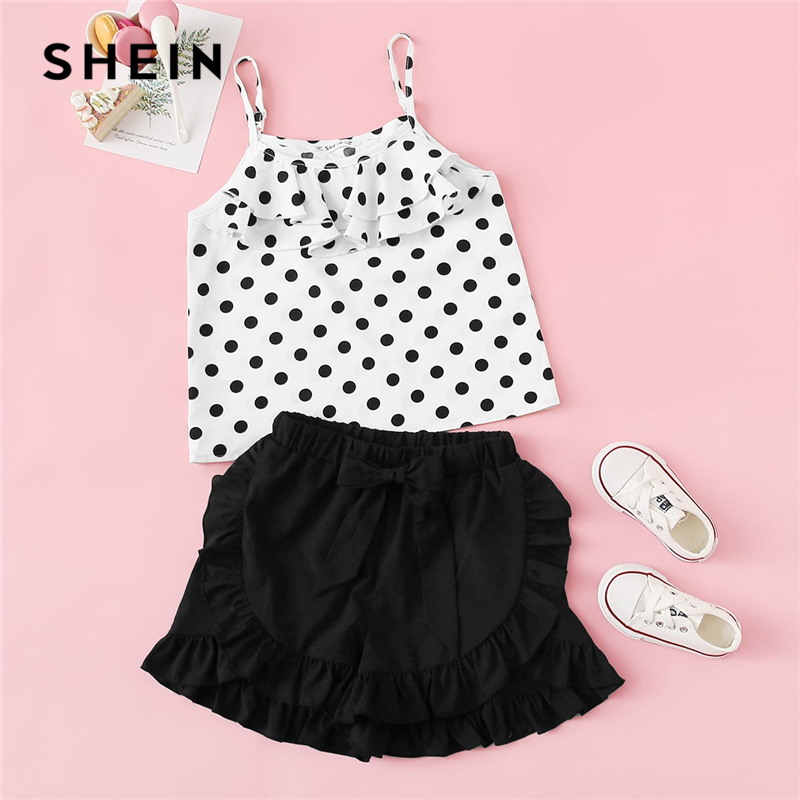 SHEIN Kiddie Girls Polka Dot Layered Spaghetti Strap Top And Solid Ruffle Shorts Boho Set 2019 Summer Holiday Cute Clothes Sets