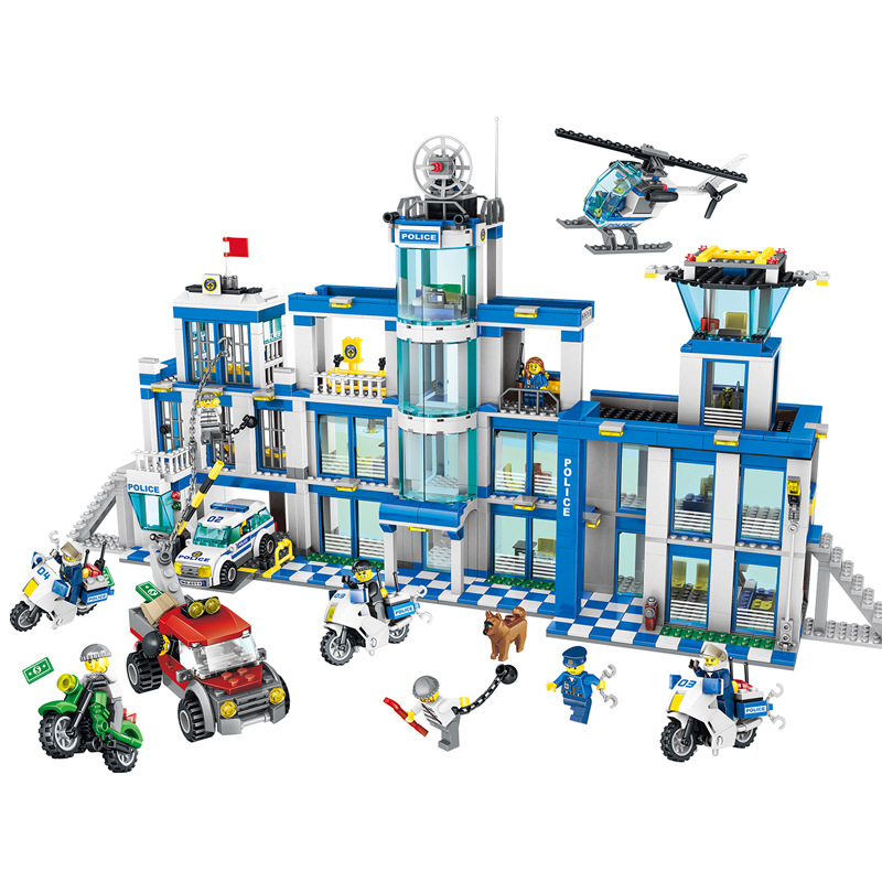 City Series Police Station Playmobil Helicopter Boat Blocks DIY Bricks Toys For Children Gift Compatible With Legoing 870pcs city police station big building blocks bricks helicopter boys toys birthday gift toy brinquedos compatible with legoing
