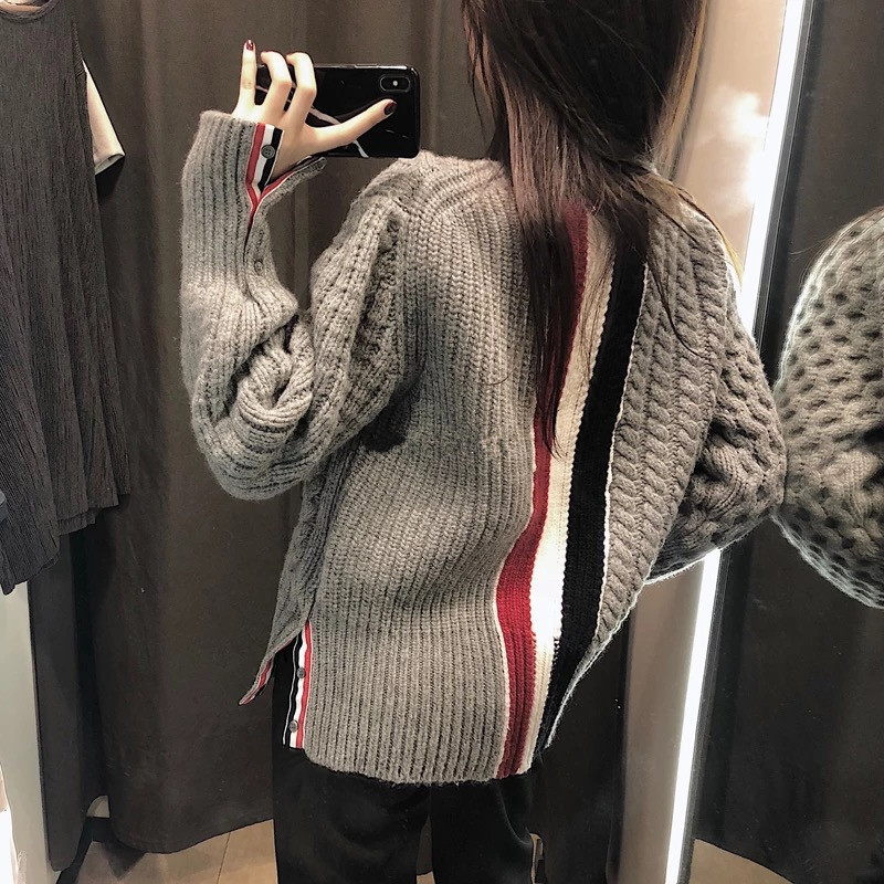 2019 College Style Back Color Matching Hong Kong Style TB Pullover Women Loose Twist Hem Split Round Neck Thickened Sweater