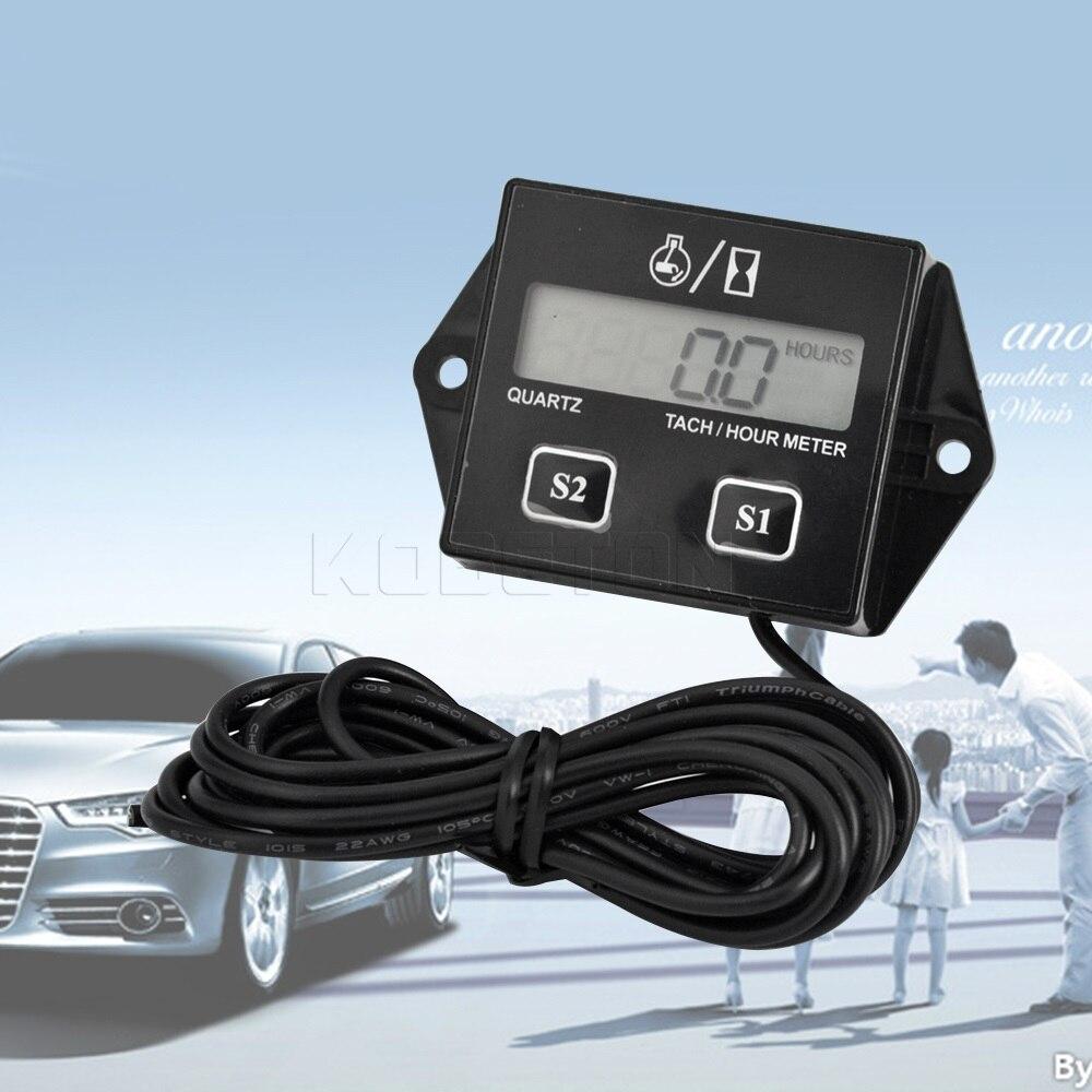 digital engine tach hour meter tachometer gauge engine rpm. Black Bedroom Furniture Sets. Home Design Ideas