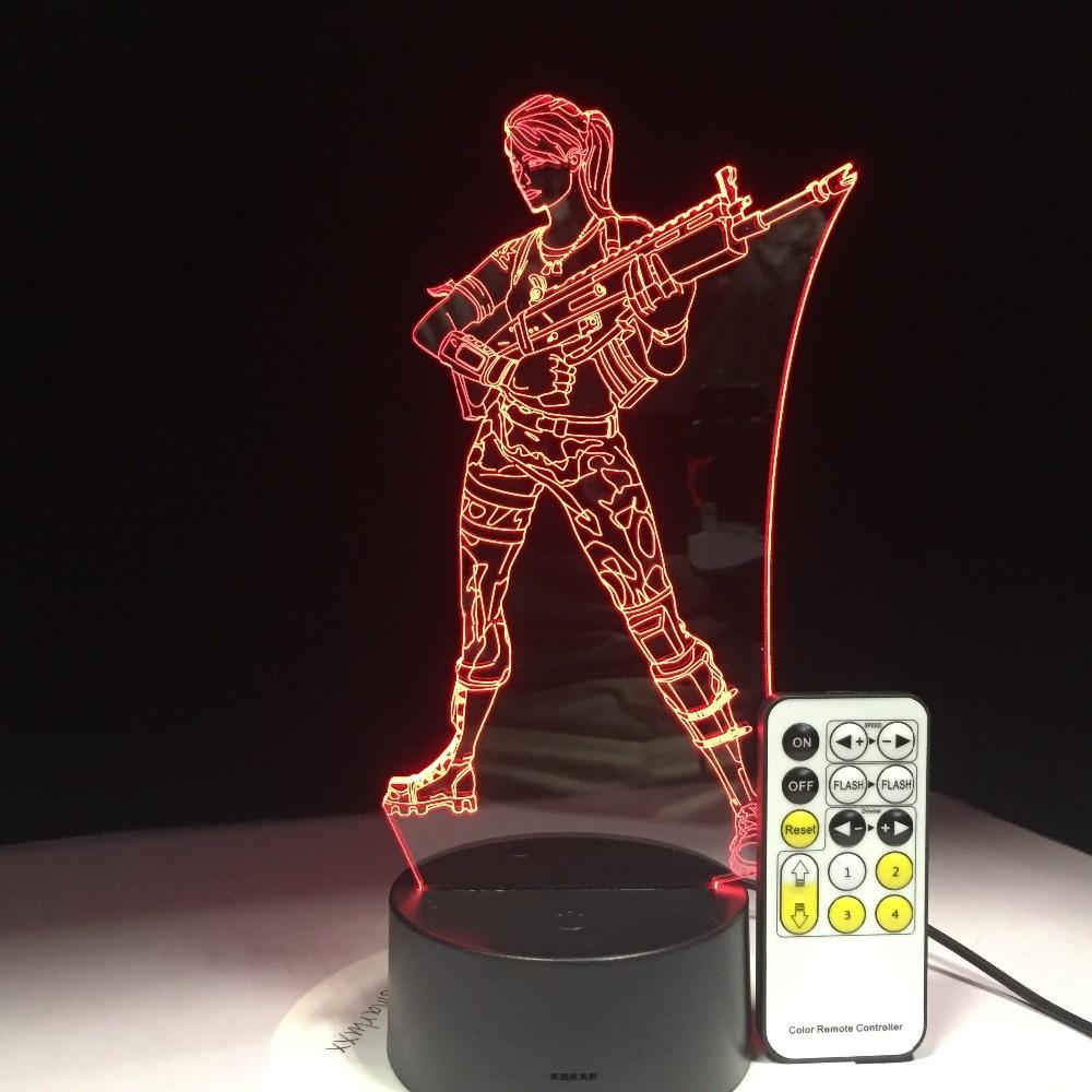 Battle Royale Llama Chug Jug lanzador de cohetes SCAR Cuervo #1 3D luz nocturna con 7 colores cambio táctil o Control remoto Drop Ship