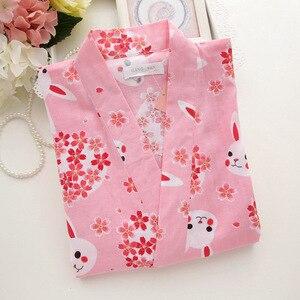 Image 4 - Kobiety piżamy zestaw wiosna i lato nowy panie bielizna nocna zestaw śliczny królik drukowane gaza bawełna komfort w stylu Kimono kobieta Homewear