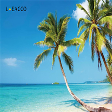 Laeacco Tropical Sea Beach Palm Tree Blue Sky Cloudy Holiday Photo Backgrounds Customized Photography Backdrops For Studio