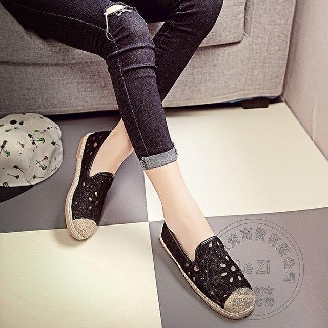 Сен Женщина Женская Обувь Женщины Плоские Туфли Pu Мягкие Кожаные Аппликации Природа Массива Обувь Рыбак Дезодорант Эспадрильи