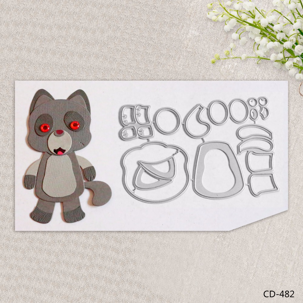 Zhuoang Metal Cutting Dies Lovely Wolf Seal for DIY Scrapbooking Photo Album Card Making DIY Decoration Supply zhuoang beautiful wooden rubber clear stamps and cutting dies set for scrapbooking photo album card making diy decoration supply