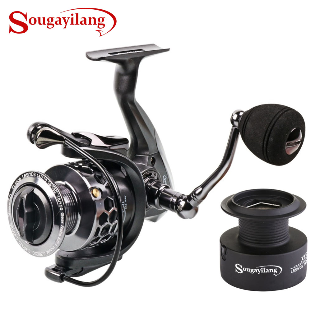 Sougayilang 13+1BB Ball Bearings Carp Fishing Spinning Reel With Spare Spool Reel  Max Drag 12KG Wheel Carretilhas Reel De PescaSougayilang 13+1BB Ball Bearings Carp Fishing Spinning Reel With Spare Spool Reel  Max Drag 12KG Wheel Carretilhas Reel De Pesca