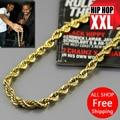 Alta calidad 100% 24 K chapado en oro filled 76 cm largo Twisted hombres Hiphop moda collar cadena de cable de la joyería bijouterie nuevo 2014