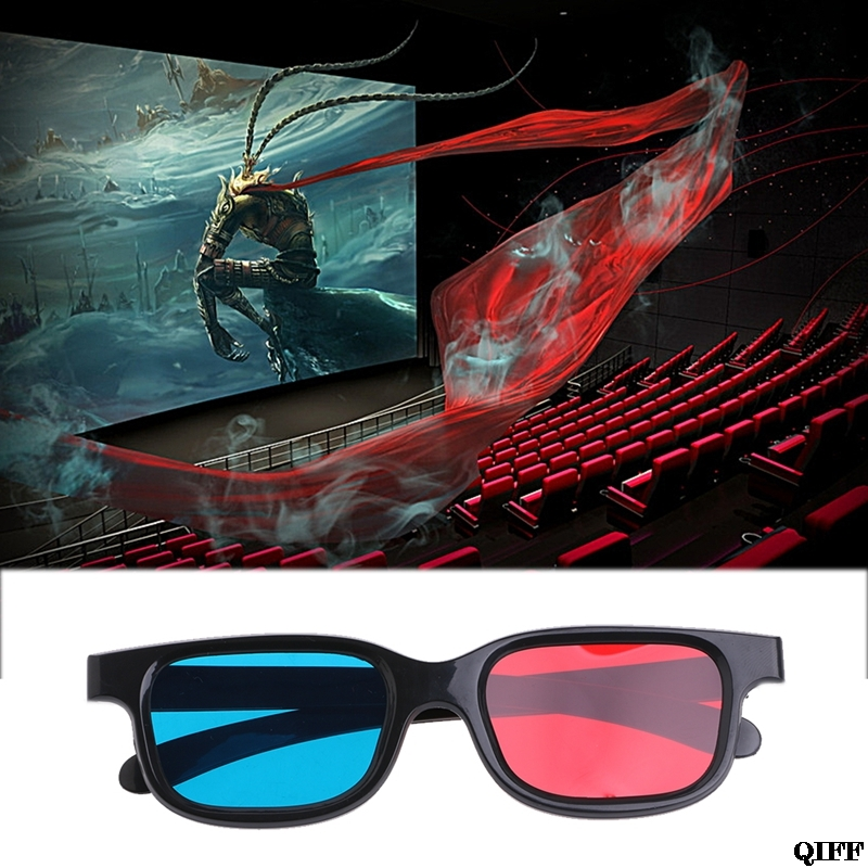 3D Glasses Cyan Game Movie Anaglyph Blue Red Black Frame For DVD APR28 Drop-Ship Universal