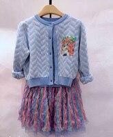 Girls cardigans cartoon character pattern knitting sweet baby girls knitted outwear kids jacket