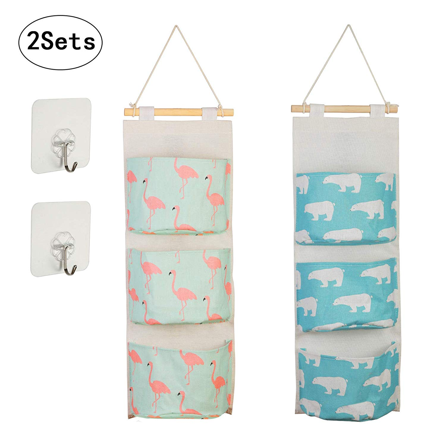 METABLE 2pcs Cartoon Pattern Hanging Storage Bag Waterproof Cotton Closet Wall Door Storage with 3 Pockets and 2 Self Adhesive in Hanging Organizers from Home Garden