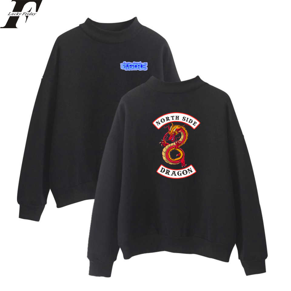 LUCKYFRIDAYF Riverdale Kpop Oversize Turtlenecks Hoodies Sweatshirts Women/Men Capless Hoodie Loose Casual Print Tracksuit Women