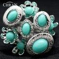 Único Diamante de Imitação Ródio Chapeado Jóias Presentes Partido Promoção Crystal Fashion Flor Do Casamento De Turquesa Anéis Para As Mulheres