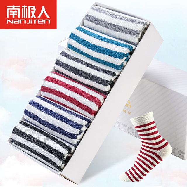 6 unids/lote Marino calcetines de rayas mujeres Estudiante Universitario lindo Calcetines para niñas cómodo desodorante calcetines de algodón de cuatro estaciones