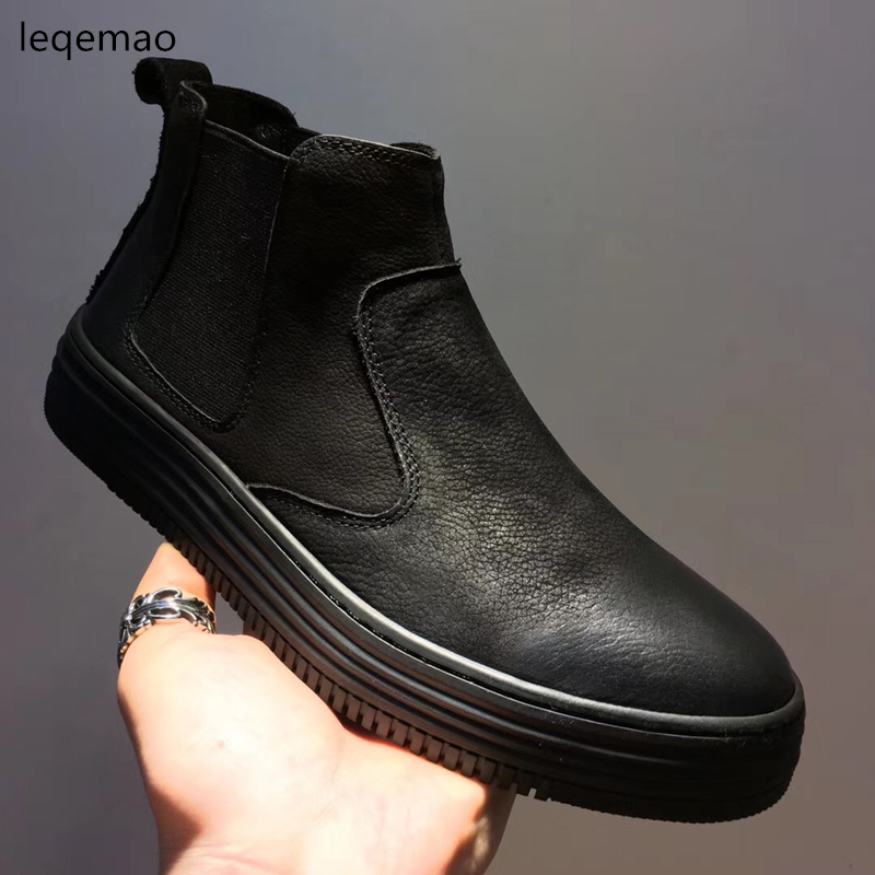 Hot Sale Men Basic Black Winter Warm Fur Fashion High-Top Nubuck Genuine Leather Luxury Brand Ankle Snow Boots Flats Size 38-44 hot sale men basic black winter warm fur shoes high top nuduck genuine leather luxury brand ankle snow boots flats size 38 44