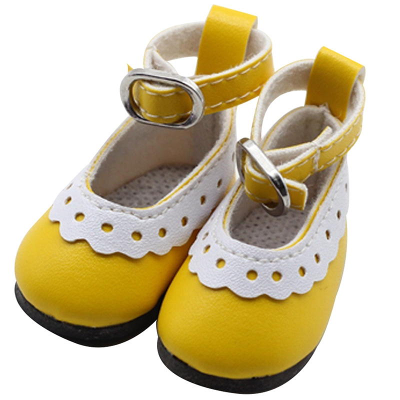 1 Pair 4.5cm PU Leather Shoes For Doll Fashion Mini Toy Lace Canvas Shoes 1/6  Doll For Doll Accessories Gift For Girls
