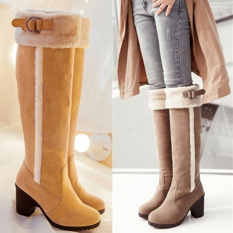 Women Long Boots High Heels Suede Knight Knee High Boots Winter Warm Snow Boots Over-the-Knee Boots Shoes Woman PPO052 winter warm snow boots cotton shoes flat heels knee high boots women boots wholesale high quality