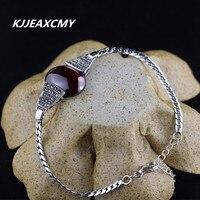 KJJEAXCMY 925 Sterling Silver Jewelry New Folk Style Ladies Hand Inlaid Marcasite Garnet Bracelet