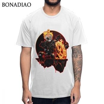 Impresionante camiseta de cráneo fantasma Rider Hell On Big Wheel para hombre, camiseta de estilo loco Rock And Roll, camiseta de S-6XL con cuello redondo