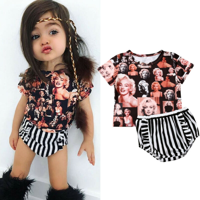 T-Shirt Baby-Girls Marilyn Monroe Outfit Tops Shorts Infant Print Striped 3-24M