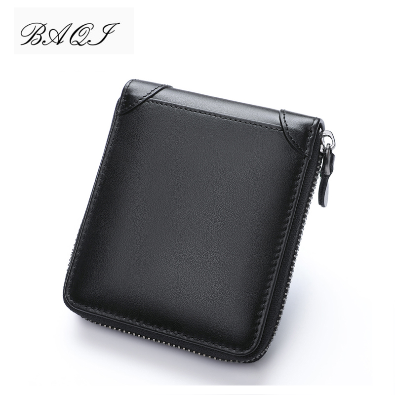 BAQI Brand Men Wallet Genuine Leather Cow Leather High Quality Coin Purse 2019 Fashion Card Holder Man Zipper Wallet Short Male|Wallets| |  - title=