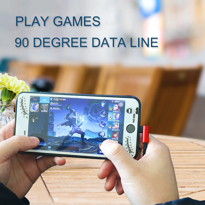 Dual 90-degree Angled Head Type-c USB Data 1m Mobile Phone Play Games Elbow Charging Line Fast Charging 5V 2.5A Copper Header