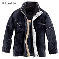 MS VASSA 2018 New Arrivals Navy Winter Jackets Mens Parka Coats Big Fleece Collar Warm Padding Jacket Plus Size Outerwear 11XL