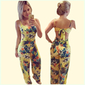 2016 fashion rompers womens jumpsuit yellow printed casual spaghetti strap loose Jumpsuits long length flower pattern overalls