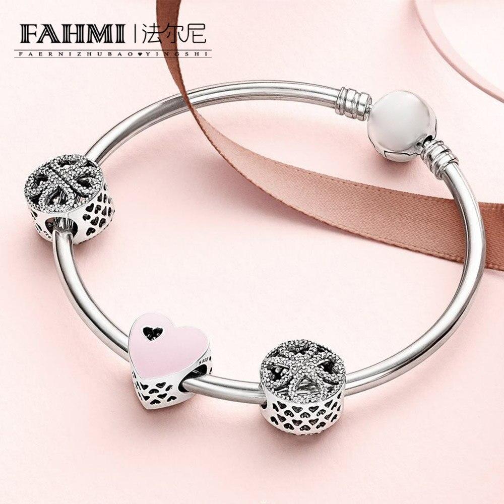 FAHMI 100% 925 Sterling Silver 1:1 SWEET LOVE HEART CHARM Petals of Love Four leaf Clover Beaded Bracelet Bangle Gift Set