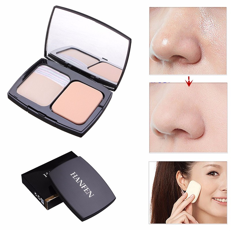 Makeup Face Foundation Pressed Power Lady Make Up Silky Smoonth Faces Compact Powders Women Cosmetic Concealer Puff Cake