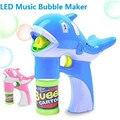 LED Dolphin Bubble Gun Music Lighting Dolphin Bubble Maker Toy Cartoon Animal Automatic Soap Water Gun Toys Children Kids
