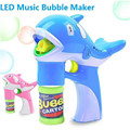LED Dolphin Bubble Gun Music Lighting Dolphin Bubble Maker Toy Cartoon Animal Automatic Soap Water Gun Toys Children Kids