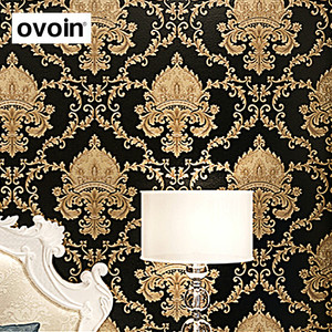 Image 2 - ハイグレード黒ゴールド高級エンボス質感メタリック3Dダマスクの壁紙ロール洗えるビニールpvcウォールペーパー