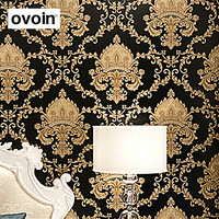 High Grade Black Gold Luxury Embossed Texture Metallic Damask Wallpaper For Wall Roll Waterproof Washable Vinyl