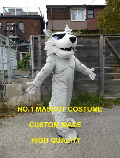 Costume de mascotte husky gris clair taille adulte personnalisable huskie thème mascotte animale déguisement carnaval cosply costumes 2435