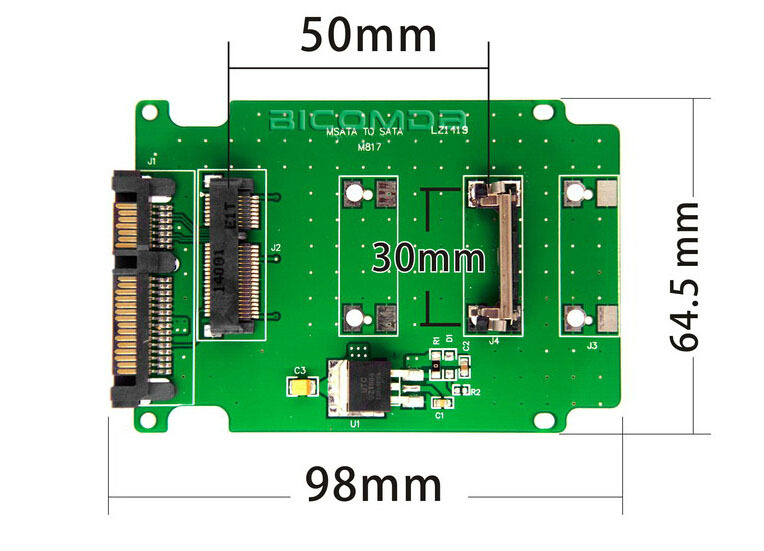 цена на Full Height Profile Bracket mSATA to SATA Adapter Converter Card For Notebook Laptop SSD Internal