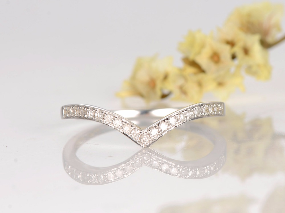 MYRAY 14K White Gold Wedding Band Diamond Wedding Band Curve Wedding Band Pave Diamond Ring Eternity Bands кольцо s j063 wedding band ring