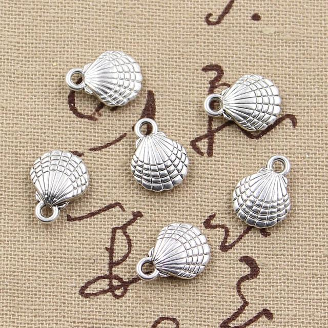 10pcs Charms double sided shell 13x10mm Antique Making pendant fit,Vintage Tibetan Silver,DIY bracelet necklace