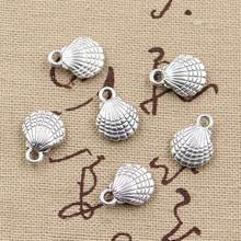 10pcs Charms double sided shell 13x10mm Antique Making pendant fit,Vintage Tibetan Silver Bronze,DIY bracelet necklace(China)
