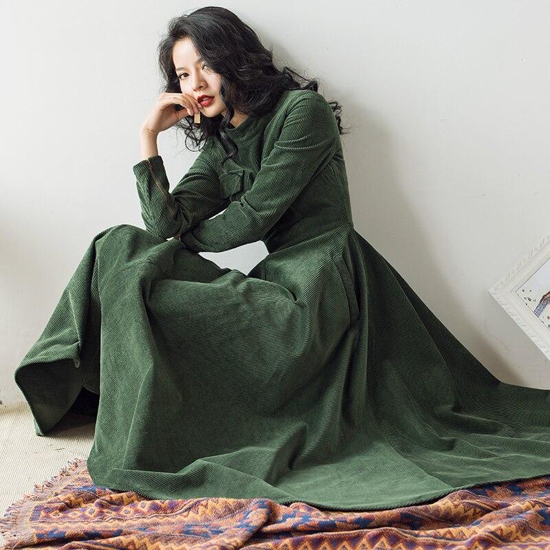 VERRAGEE 2019 automne hiver new vintage femmes mandarin col vert brun robe à manches longues Taille Haute rétro robe maxi élégante - 3