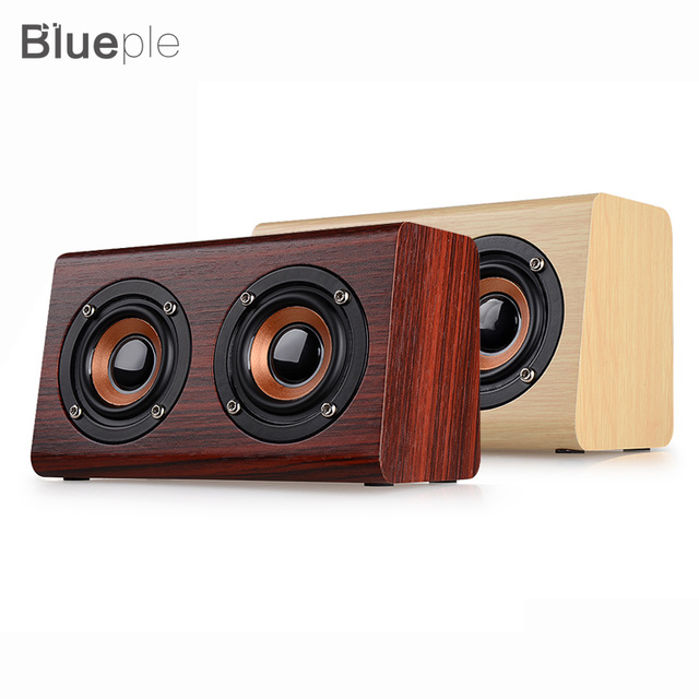 Blueple W7 Bluetooth Speaker Retro Wood Dual Loudspeaker 1500mAh Subwoofer 3.5mm USB Charging Portable Speaker-in Portable Speakers from Consumer Electronics on Aliexpress.com | Alibaba Group
