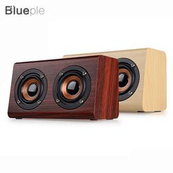 Wood Bluetooth Speaker W7 Retro HIFI 3D Dual Loudspeakers Bluetooth Wireless Speaker with Hands-free Sound Box TF AUX IN