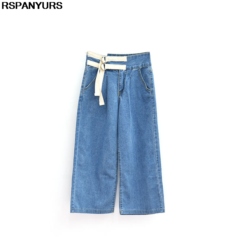 RSPANYURS Boyfriend Style Wide Leg Jeans High Waist Loose Lace-Up Women Pants Fashion Slim BF 2017 Denim Pantalones Mujer new boyfriend jeans for women denim pants ladies loose fit high waist casual jeans fall fashion style drak blue wide leg pants