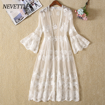 White Mesh Blouse Flower Holiday Beach Embroidered Kimono Cardigan Plus size Women Casual flower embroidered mesh shoulder top