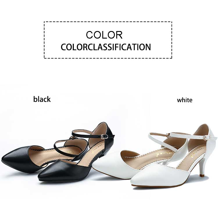 YALNN Spring Summer Basic Women Pumps Shoes Shallow Buckle Strap Thin Heels Pointed Toe for Leisure Office Career Shoes Women 7